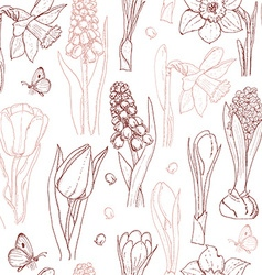 Seamless pattern with spring flowers on a white vector image
