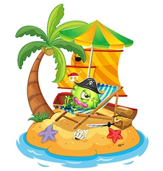 An island with a monster pirate vector image vector image