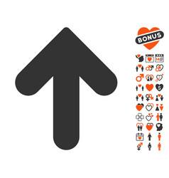 Arrow up icon with valentine bonus vector