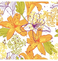 Beautiful seamless pattern with lilies vector image vector image