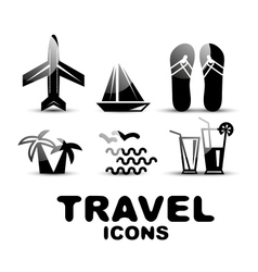 Black glossy travel icon set vector image vector image