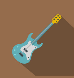 Blue electric guitar icon flat style vector