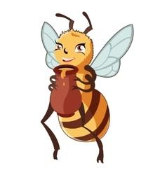 Cartoon bee and honey vector