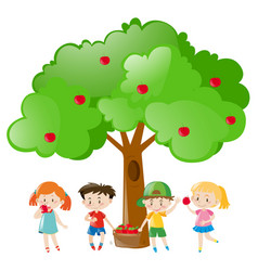 Children picking out apples on the tree vector