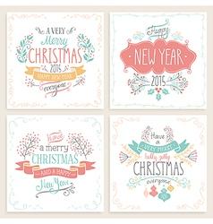 christmas handdrawn emblems vector image vector image