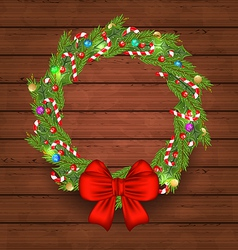 Christmas holiday decoration wreath garland vector image