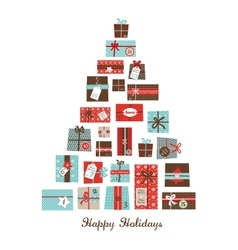 Christmas presents arranged as a seasonal tree vector image