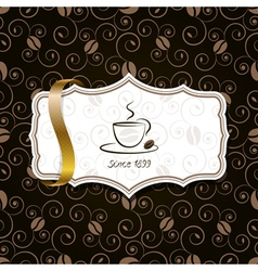 Coffee background with ribbon vector