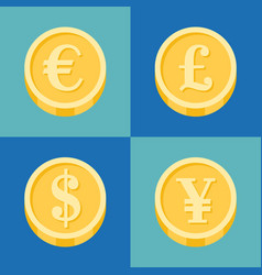 coin icons set vector image vector image