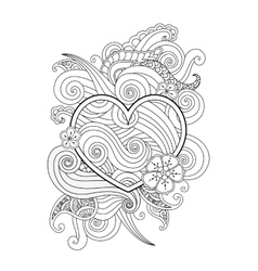 Coloring page with heart and abstract element vector