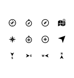 Compass icons on white background vector image