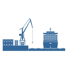Container ship in the port vector image