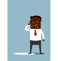 Depressed cartoon black businessman crying vector image vector image