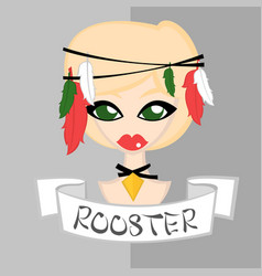 Girl in chinese zodiac theme rooster vector