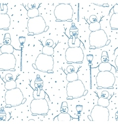 Hand drawn happy snowmans seamles cartoon vector image