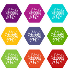 kaboom explosion icon set color hexahedron vector image vector image