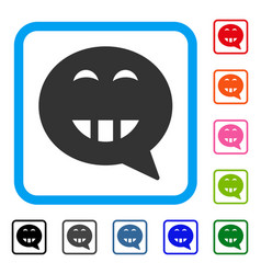 Laugth smiley message framed icon vector