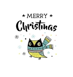 Merry Christmas greeting cards with owl vector image vector image