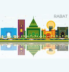 Rabat morocco skyline with color buildings blue vector