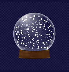Realistic transparent snow globe vector