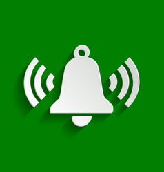 Ringing bell icon paper whitish icon with vector