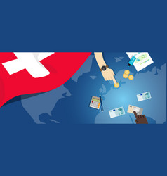 Switzerland economy fiscal money trade concept vector