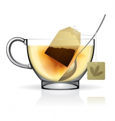 tea bag in the cup vector image vector image