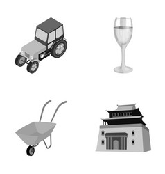tractor glass and other monochrome icon in vector image vector image