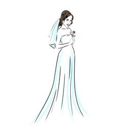 Wedding time bride in dress sketch eps 10 vector