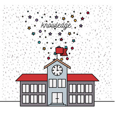 White background with sparkles of school building vector