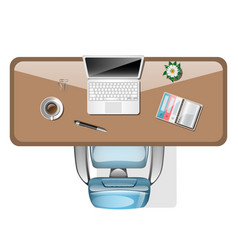 workplace top view office tools on table vector image vector image