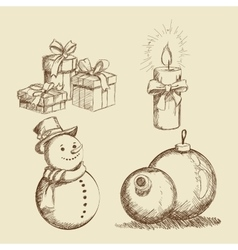 Merry christmas sketch design vector