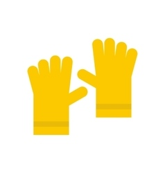 Yellow rubber gloves icon flat style vector