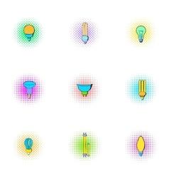Lamp icons set pop-art style vector