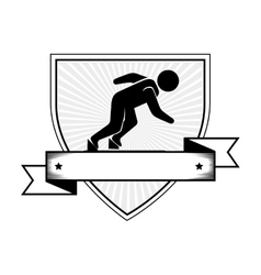 Athletic competitor emblem icon vector