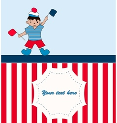 Young sailor with flags vector