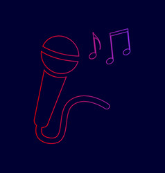 Microphone sign with music notes  line vector