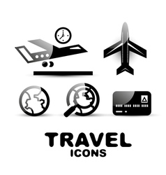 Black glossy travel icon set vector image