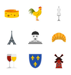 Travel to france icons set flat style vector
