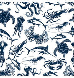 seamless pattern sea fish fishing catch vector image