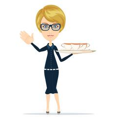 Waitress serving coffee or tea vector