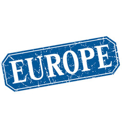 Europe blue square grunge retro style sign vector