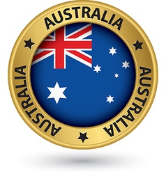 Australia gold label with flag vector image