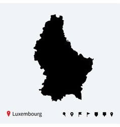 High detailed map of luxembourg with navigation vector