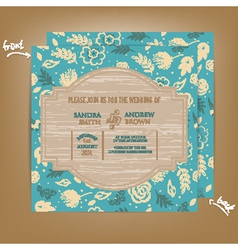 wedding invitation wooden blue vector image
