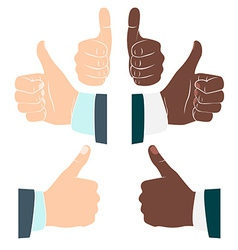 Thumbs up Drawn by hands icons Flat style vector image