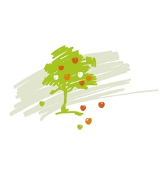 Stylized drawing of apple tree with ripe vector