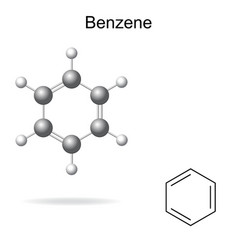 Chemical formula and model of benzene vector