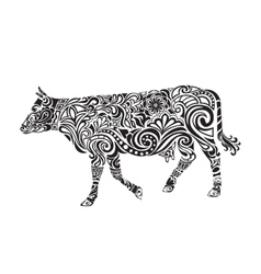 Cow drawing with floral ornament decoration vector