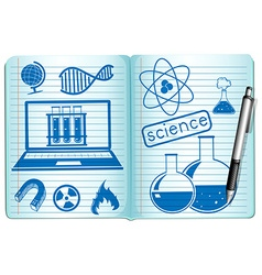 Science symbols on the notebook vector